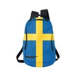 Zaino della bandiera della Svezia isolato su bianco fotografia stock libera da diritti