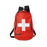 Zaino della bandiera della Svizzera isolato su bianco fotografie stock libere da diritti