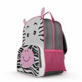 Zaino della scuola della zebra delle ragazze su bianco illustrazione 3D Fotografia Stock Libera da Diritti
