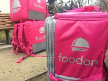 Zaino di consegna di rosa di Foodora Fotografia Stock
