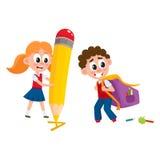 Zaino di trasporto del ragazzo, ragazza con la matita enorme illustrazione di stock