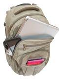 Zaino di viaggio con i dispositivi mobili isolati Immagine Stock