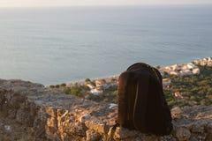 zaino ed oceano Fotografia Stock