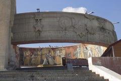 The Zaisan Memorial in Ulaanbaatar in Mongolie. At the Zaisan Memorial in Ulaanbaatar in Mongolie with beautiful drawings stock photo