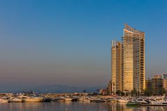 Zaitunay海湾小游艇船坞贝鲁特黎巴嫩 免版税库存图片