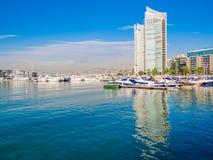 Zaitunay fjärd i Beirut, Libanon arkivfoto