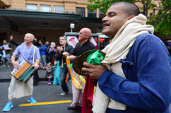 Zajęczy Krishna ludzie świętuje Diwali festiwal w Auckland, Nowym Zdjęcie Royalty Free