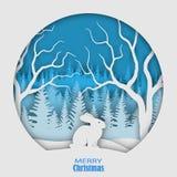 Zajęczy obsiadanie na snowdrift przeciw tłu las choinki, Boże Narodzenia, nowego roku ` s ilustracja Papierowy styl royalty ilustracja