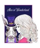 Zając lub królik w kapeluszu od bajki Alice w Wonderla Obrazy Royalty Free