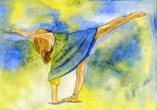 Zajęcie joga i karmieniem córka Obraz Royalty Free