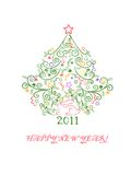 Zajac 2011. Decorative festive New Year postcard 2011 stock illustration
