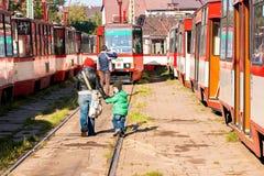 zajezdni przodu tramwaju tramwajów widok Zdjęcia Stock