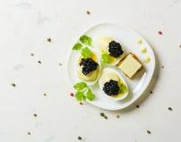 Zakąska jajka, biały kumberland i czarny kawior, Układ na kamiennym tle z pikantność i ziele Fotografia Royalty Free