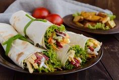 Zakąska pita faszerował z: (lavash) salami, ser, zalewy, marchewki, kumberland, zielenieje fotografia royalty free
