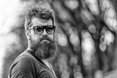 Zakład fryzjerski i stylu pojęcie Mężczyzna z brodą i wąsy na surowej twarzy, natury tło, defocused brodaty mężczyzna zdjęcie royalty free
