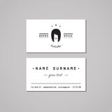 Zakład fryzjerski wizytówki projekta pojęcie Zakładu fryzjerskiego logo z długie włosy kobietą Włosianego salonu wizytówka Zdjęcia Royalty Free