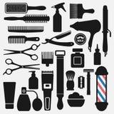 Zakład fryzjerski wytłacza wzory ikony ustawiać Ilustracja Wektor