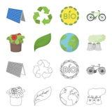 Zakład przetwórczy, kwiaty w garnku, zielony liść, planety ziemia Życiorys i ekologia ustalone inkasowe ikony w kreskówce Obrazy Royalty Free