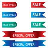 Zakładka sztandar i Specjalna oferta tasiemkowy projekt odizolowywający na tle Zdjęcia Stock