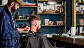 Zakładu fryzjerskiego pojęcie Modnisia brodaty klient dostać fryzurę Fryzjer męski z hairdryer pracuje na fryzurze dla brodatego  Zdjęcia Royalty Free