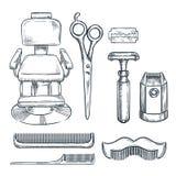 Zakładu fryzjerskiego rocznika narzędzi nakreślenia wektorowa ilustracja Wręcza patroszone ikony i projektów elementy dla mężczyz royalty ilustracja