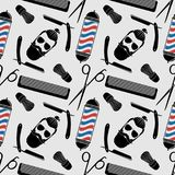 Zakładu fryzjerskiego tło, bezszwowy wzór z fryzjerstwo nożycami, golenia muśnięcie, żyletka, grępla, modniś twarz i fryzjera męs ilustracja wektor