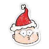 zak?opotana majcher kresk?wka ciekawy ?ysy m??czyzna jest ubranym Santa kapelusz ilustracji