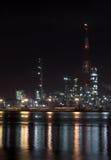 zakład petrochemiczny noc Zdjęcia Royalty Free