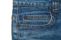 Zak blauwe women& x27; s jeans met metaalknopen Stock Afbeeldingen