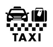 Zak en taxiautopictogram Stock Afbeeldingen