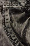 Zak grijze jeans detail Stock Afbeelding