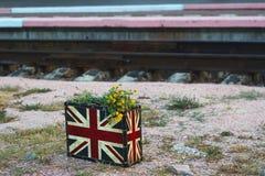 Zak met bloemen op het royalty-vrije stock fotografie