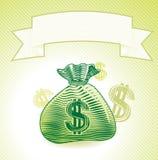 Zak met geld Stock Foto's