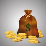 Zak met gouden muntstukken Bruine zak op grijze achtergrond Stock Foto's