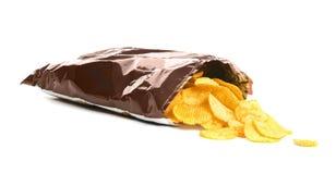 Zak met knapperige chips royalty-vrije stock afbeelding