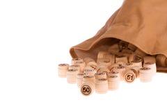 Zak met lotto-vaten Stock Fotografie