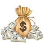 Zak met pakken van dollarsgeld Stock Foto's