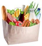 Zak met voedsel op een witte achtergrond wordt geïsoleerd die Stock Afbeeldingen