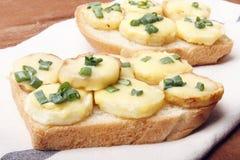 Zakąska pszeniczne chleba, grul, serowych i zielonych cebule, obraz royalty free