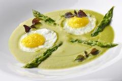 Zakąski naczynie asparagusy Pureed przepiórek jajka 2 Fotografia Royalty Free