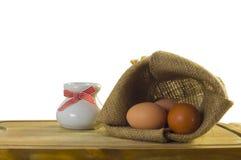 Zak van eieren Stock Foto's