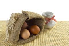 Zak van eieren Stock Fotografie