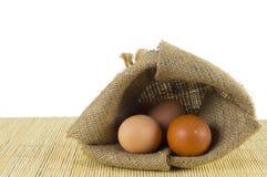 Zak van eieren Stock Foto