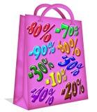 Zak van het Document van de verkoop de Roze Royalty-vrije Stock Foto's
