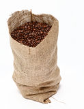 Zak van koffiebonen Stock Foto's