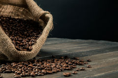 Zak van koffiebonen Stock Foto