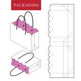 Zak verpakkend malplaatje voor het dragen Vectorillustratie van verpakking royalty-vrije illustratie