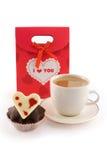 Zak voor giften met koffie en muffin Royalty-vrije Stock Foto's