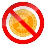 Zakazu bitcoin i crypto Fotografia Royalty Free