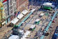 Zakazu Jelacic kwadrat Zagreb widok z lotu ptaka Obraz Royalty Free